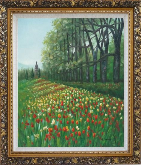 Framed Gorgeous Colorful Flowery Fields in Spring Oil Painting Landscape Tulip Impressionism Ornate Antique Dark Gold Wood Frame 30 x 26 Inches
