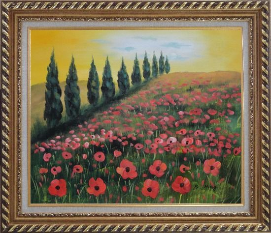 Framed Alpine Flower Meadow Oil Painting Landscape Field Italy Naturalism Exquisite Gold Wood Frame 26 x 30 Inches