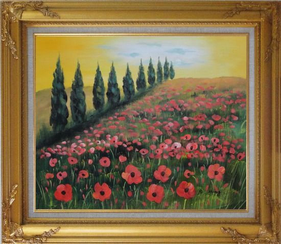 Framed Alpine Flower Meadow Oil Painting Landscape Field Italy Naturalism Gold Wood Frame with Deco Corners 27 x 31 Inches