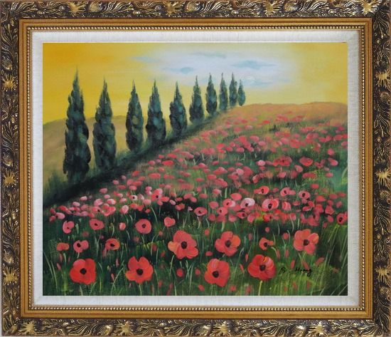 Framed Alpine Flower Meadow Oil Painting Landscape Field Italy Naturalism Ornate Antique Dark Gold Wood Frame 26 x 30 Inches