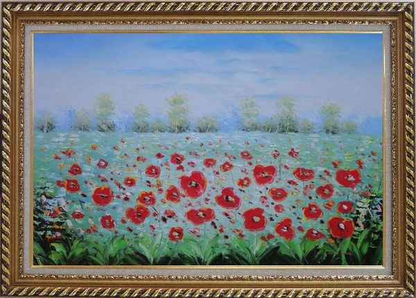 Framed A Sea Of Red Poppy in Spring Oil Painting Landscape Field Impressionism Exquisite Gold Wood Frame 30 x 42 Inches