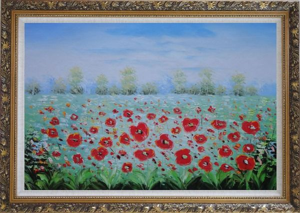 Framed A Sea Of Red Poppy in Spring Oil Painting Landscape Field Impressionism Ornate Antique Dark Gold Wood Frame 30 x 42 Inches