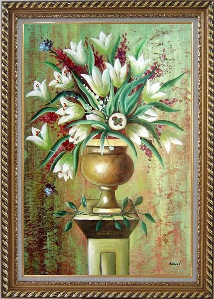 Framed Red, White Tulip Flowers in Vase on Pillar Oil Painting Still Life Bouquet Modern Exquisite Gold Wood Frame 42 x 30 Inches