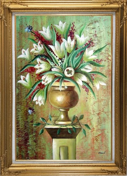 Framed Red, White Tulip Flowers in Vase on Pillar Oil Painting Still Life Bouquet Modern Gold Wood Frame with Deco Corners 43 x 31 Inches