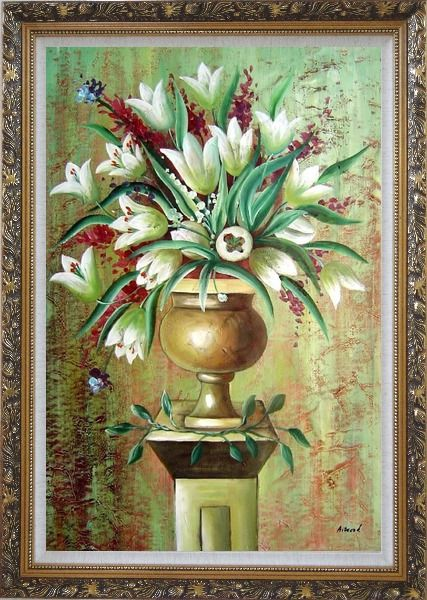 Framed Red, White Tulip Flowers in Vase on Pillar Oil Painting Still Life Bouquet Modern Ornate Antique Dark Gold Wood Frame 42 x 30 Inches