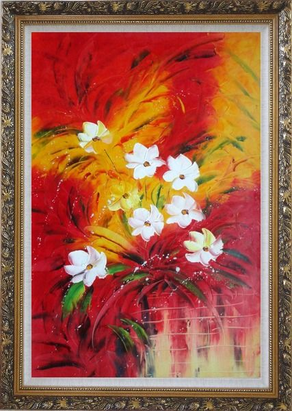 Framed The Best Time of The Life Oil Painting Flower Modern Ornate Antique Dark Gold Wood Frame 42 x 30 Inches