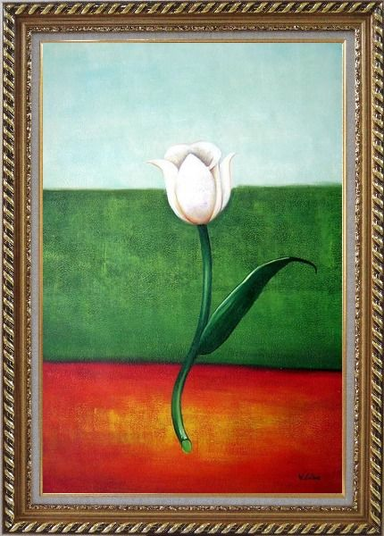 Framed White Tulip in Blue, Green, Red Background Oil Painting Flower Modern Exquisite Gold Wood Frame 42 x 30 Inches
