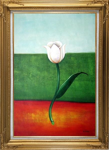 Framed White Tulip in Blue, Green, Red Background Oil Painting Flower Modern Gold Wood Frame with Deco Corners 43 x 31 Inches