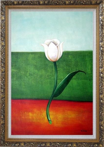Framed White Tulip in Blue, Green, Red Background Oil Painting Flower Modern Ornate Antique Dark Gold Wood Frame 42 x 30 Inches