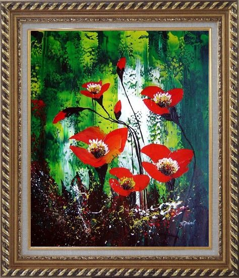 Framed Magnificent Red Flowers Sing in Green Oil Painting Impressionism Exquisite Gold Wood Frame 30 x 26 Inches