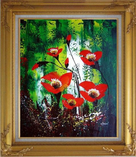 Framed Magnificent Red Flowers Sing in Green Oil Painting Impressionism Gold Wood Frame with Deco Corners 31 x 27 Inches