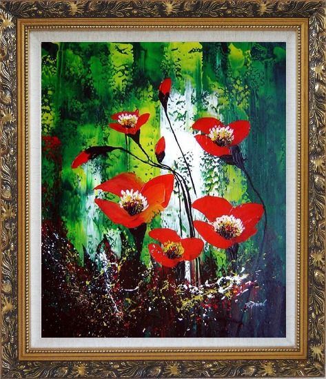 Framed Magnificent Red Flowers Sing in Green Oil Painting Impressionism Ornate Antique Dark Gold Wood Frame 30 x 26 Inches