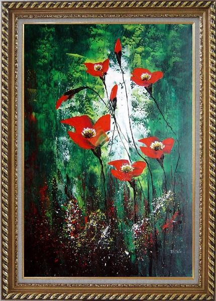 Framed Magnificent Red Flowers Sing in Green Oil Painting Decorative Exquisite Gold Wood Frame 42 x 30 Inches