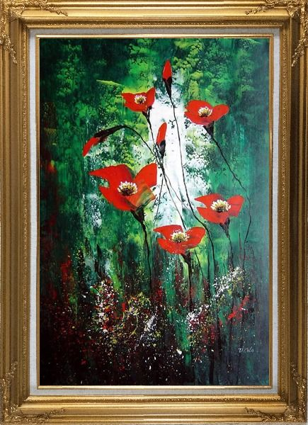 Framed Magnificent Red Flowers Sing in Green Oil Painting Decorative Gold Wood Frame with Deco Corners 43 x 31 Inches
