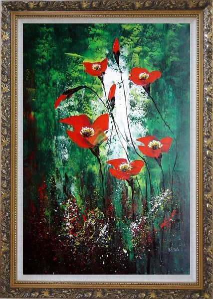 Framed Magnificent Red Flowers Sing in Green Oil Painting Decorative Ornate Antique Dark Gold Wood Frame 42 x 30 Inches