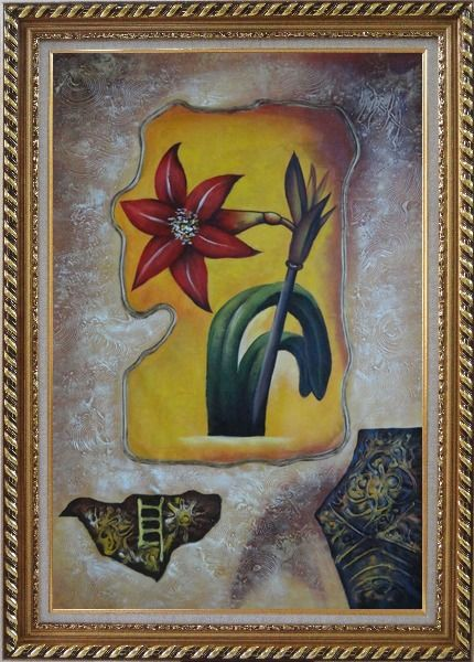 Framed Abstract Modern Red Lily Flower Oil Painting Exquisite Gold Wood Frame 42 x 30 Inches
