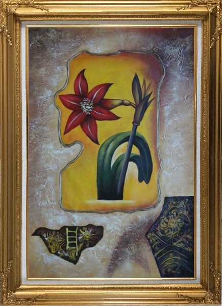 Framed Abstract Modern Red Lily Flower Oil Painting Gold Wood Frame with Deco Corners 43 x 31 Inches