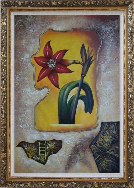 Framed Abstract Modern Red Lily Flower Oil Painting Ornate Antique Dark Gold Wood Frame 42 x 30 Inches
