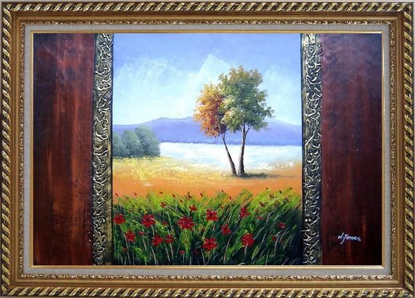 Framed The Beauty of the Homeland Oil Painting Landscape Impressionism Exquisite Gold Wood Frame 30 x 42 Inches