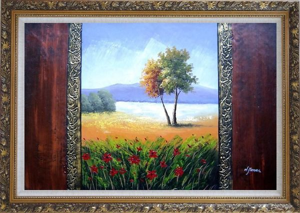 Framed The Beauty of the Homeland Oil Painting Landscape Impressionism Ornate Antique Dark Gold Wood Frame 30 x 42 Inches