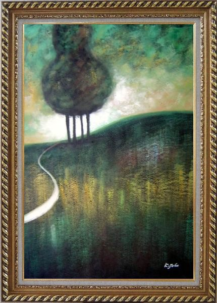 Framed Green Trees by Small Path Oil Painting Landscape Decorative Exquisite Gold Wood Frame 42 x 30 Inches