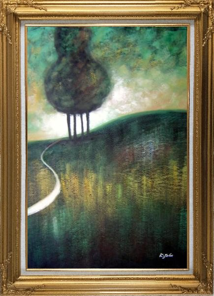 Framed Green Trees by Small Path Oil Painting Landscape Decorative Gold Wood Frame with Deco Corners 43 x 31 Inches