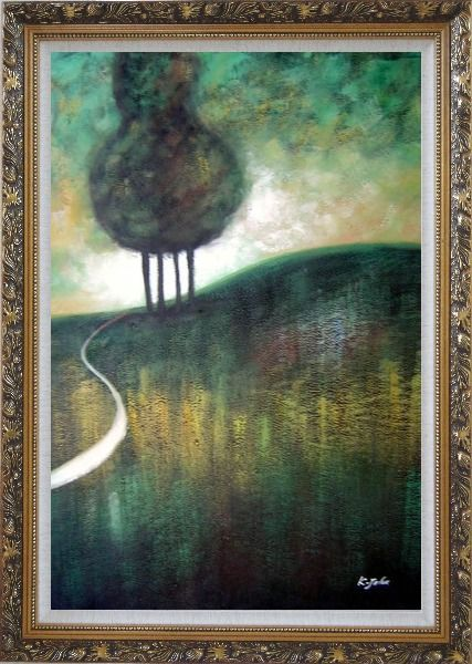 Framed Green Trees by Small Path Oil Painting Landscape Decorative Ornate Antique Dark Gold Wood Frame 42 x 30 Inches