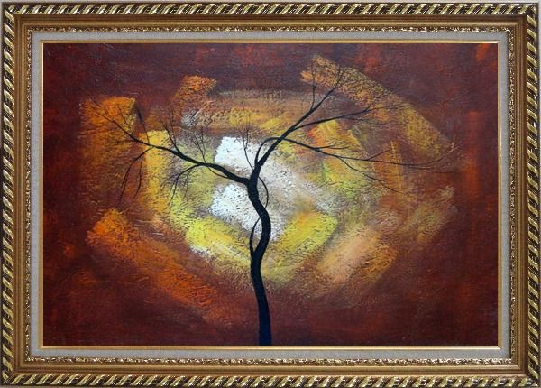 Framed Modern Black Tree in Red, Brown Sky Oil Painting Landscape Exquisite Gold Wood Frame 30 x 42 Inches
