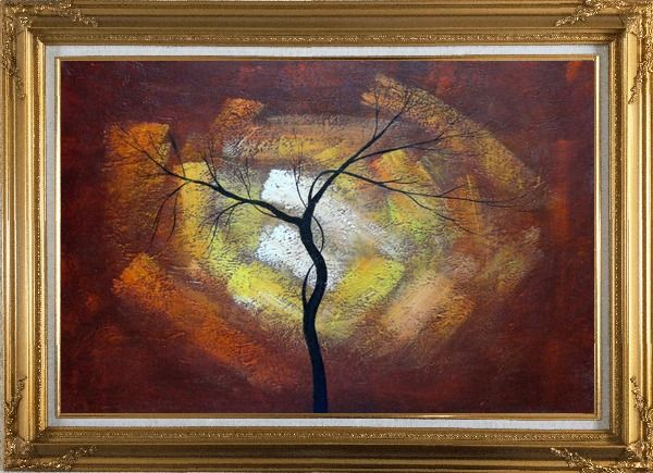Framed Modern Black Tree in Red, Brown Sky Oil Painting Landscape Gold Wood Frame with Deco Corners 31 x 43 Inches