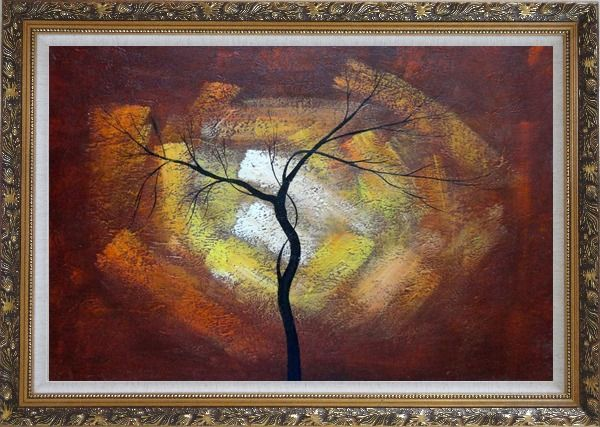 Framed Modern Black Tree in Red, Brown Sky Oil Painting Landscape Ornate Antique Dark Gold Wood Frame 30 x 42 Inches