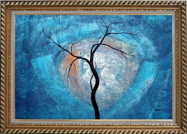 Framed Black Tree in Moonlight Oil Painting Landscape Decorative Exquisite Gold Wood Frame 30 x 42 Inches