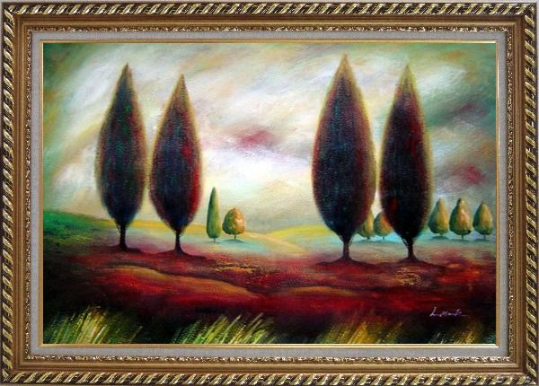 Framed Trees in Wilderness Oil Painting Landscape Modern Exquisite Gold Wood Frame 30 x 42 Inches