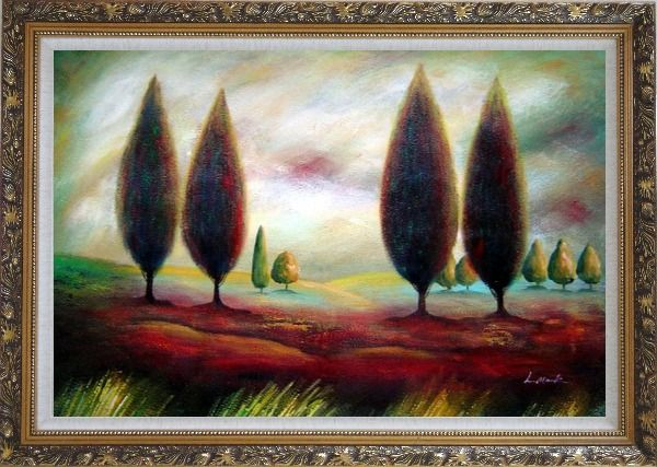 Framed Trees in Wilderness Oil Painting Landscape Modern Ornate Antique Dark Gold Wood Frame 30 x 42 Inches