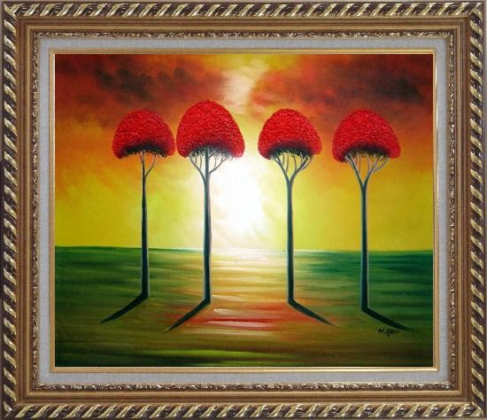 Framed Four Glorious Red Trees at Sunset Oil Painting Landscape Modern Exquisite Gold Wood Frame 26 x 30 Inches