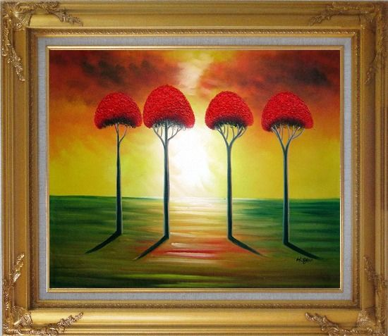Framed Four Glorious Red Trees at Sunset Oil Painting Landscape Modern Gold Wood Frame with Deco Corners 27 x 31 Inches