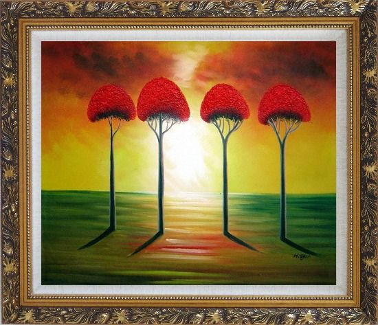 Framed Four Glorious Red Trees at Sunset Oil Painting Landscape Modern Ornate Antique Dark Gold Wood Frame 26 x 30 Inches