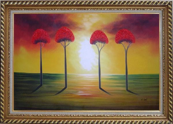 Framed Four Glorious Red Trees at Sunset Oil Painting Landscape Modern Exquisite Gold Wood Frame 30 x 42 Inches