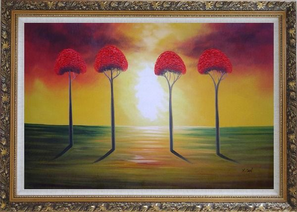 Framed Four Glorious Red Trees at Sunset Oil Painting Landscape Modern Ornate Antique Dark Gold Wood Frame 30 x 42 Inches