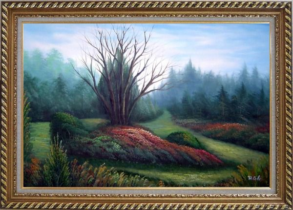 Framed Leaveless Tree Surrounded by Luxuriant Plants Oil Painting Landscape Naturalism Exquisite Gold Wood Frame 30 x 42 Inches
