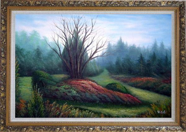 Framed Leaveless Tree Surrounded by Luxuriant Plants Oil Painting Landscape Naturalism Ornate Antique Dark Gold Wood Frame 30 x 42 Inches