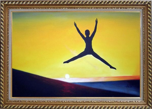 Framed Jump Oil Painting Portraits Modern Exquisite Gold Wood Frame 30 x 42 Inches