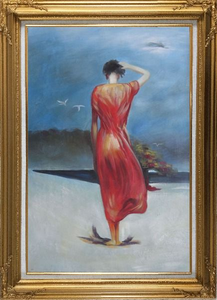 Framed Beautiful Girl with Red Long Skirt Oil Painting Portraits Woman Impressionism Gold Wood Frame with Deco Corners 43 x 31 Inches