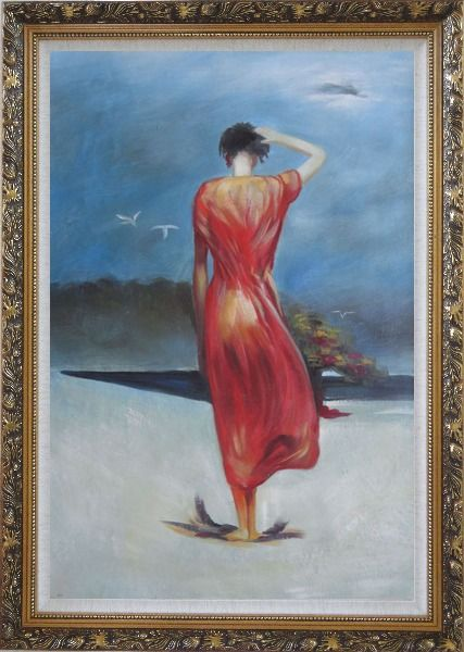 Framed Beautiful Girl with Red Long Skirt Oil Painting Portraits Woman Impressionism Ornate Antique Dark Gold Wood Frame 42 x 30 Inches