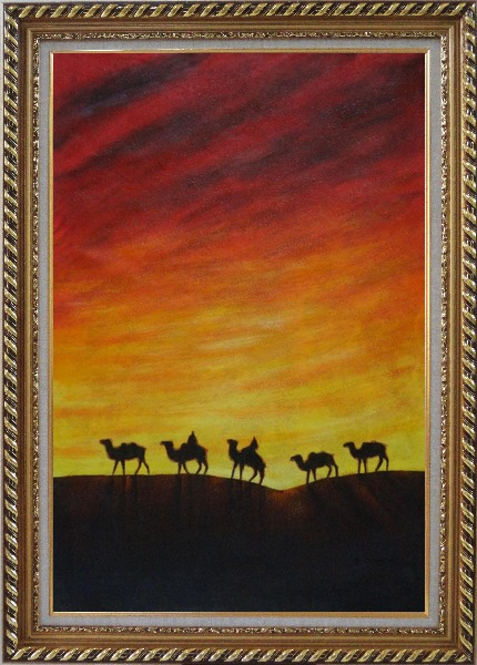 Framed Camel Caravan in Sunset Oil Painting Animal Modern Exquisite Gold Wood Frame 42 x 30 Inches