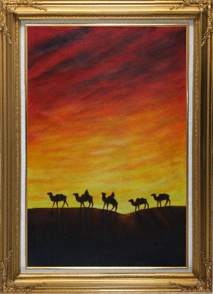 Framed Camel Caravan in Sunset Oil Painting Animal Modern Gold Wood Frame with Deco Corners 43 x 31 Inches
