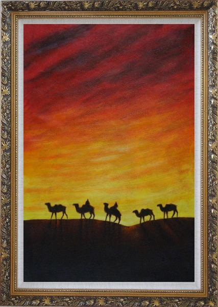 Framed Camel Caravan in Sunset Oil Painting Animal Modern Ornate Antique Dark Gold Wood Frame 42 x 30 Inches