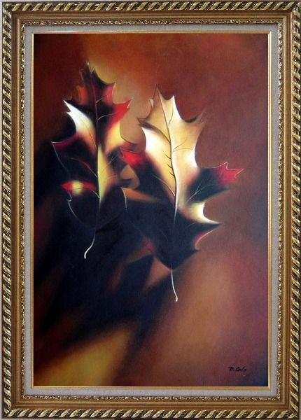 Framed Two Elegant Brown Leaves in Autumn Oil Painting Still Life Decorative Exquisite Gold Wood Frame 42 x 30 Inches