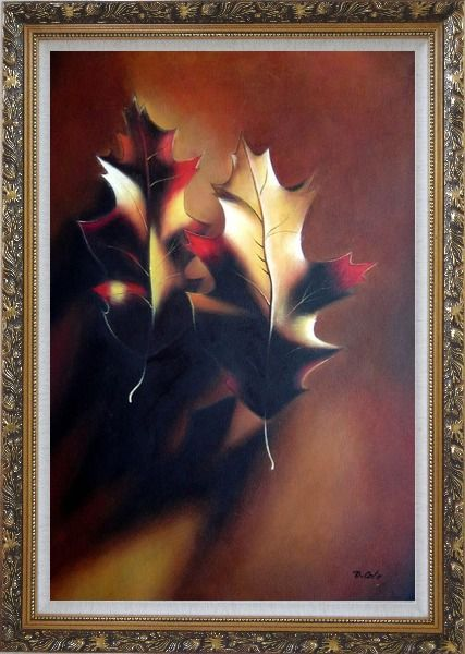 Framed Two Elegant Brown Leaves in Autumn Oil Painting Still Life Decorative Ornate Antique Dark Gold Wood Frame 42 x 30 Inches