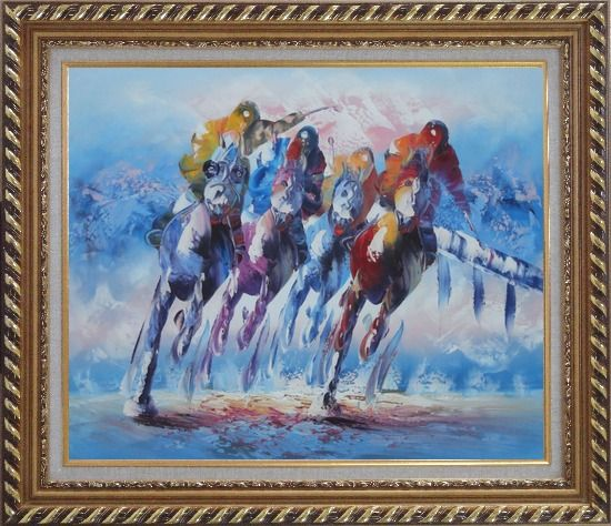 Framed Spur on Galloping Horses in Racing Oil Painting Portraits Animal Modern Exquisite Gold Wood Frame 26 x 30 Inches