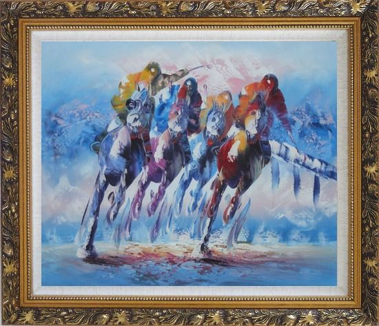 Framed Spur on Galloping Horses in Racing Oil Painting Portraits Animal Modern Ornate Antique Dark Gold Wood Frame 26 x 30 Inches
